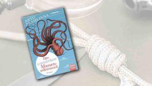 """Buchcover von """"Der wunderbare Massenselbstmord"""" im Vordergrung, im Hintergrund liegt ein Tau mit Knoten"""