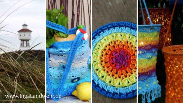Eine Collage aus 4 Bildern: von links nach rechts: 1. Wasserturm auf Langeoog, 2. gehäkelte Tasche mit Fischen, 3. gehäkeltes Mandala in Regenbogenfarben, 4. 2 Häkellaternen