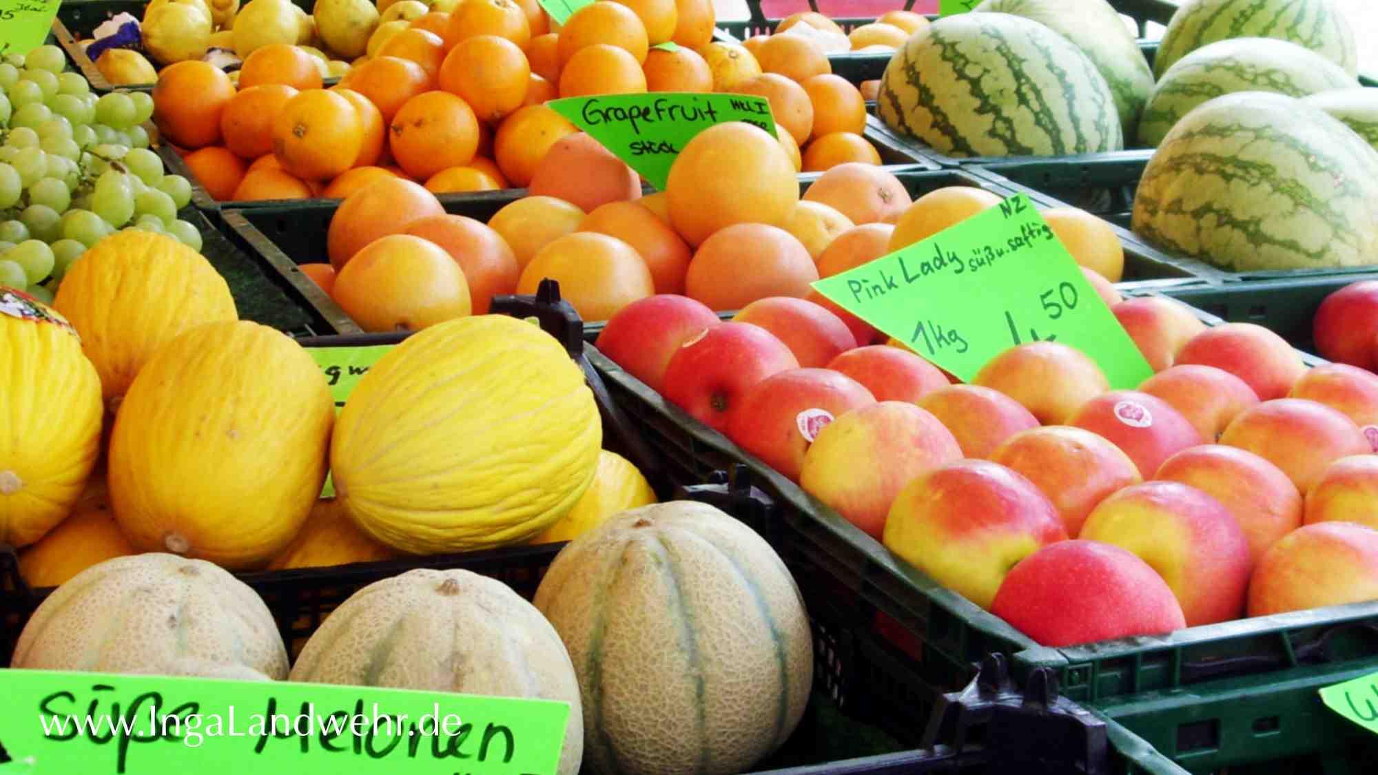 Melonen und Äpfel für eine selbstgekochte Marmelade ohne Gelierzucker