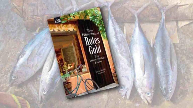 """Buchcover von """"Rotes Gold"""" im Vordergrund, tote Thunfische im Hintergrund"""