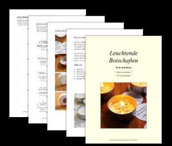 """Titelbild und ein paar Seiten aus dem eBook """"Leuchtende Botschaften - Glücksbotschaften, Weihnachtszitate"""""""
