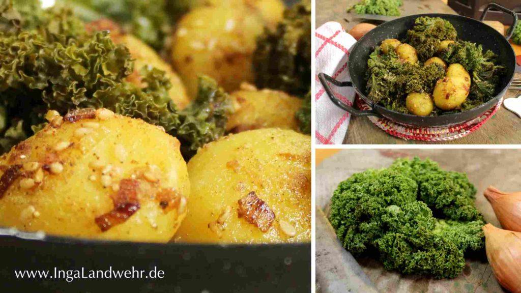 auf einem dreiteiligen Bild ist eine Detailaufnahme von Sesamkartoffeln, gekkochtem und frischen Grünkohl zu sehen.